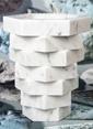 3Wdesign El Yapımı Mermer Altıgen Saksı Beyaz